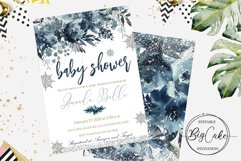 Baby Shower Blue Winter Invitation Boy Christmas Product Image 1