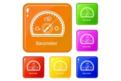 Barometer icons set vector color Product Image 1
