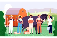 Farmers group. Agricultural workers, farmer team standing to Product Image 1