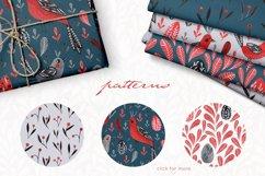 Lovebirds folk art bird illustrated collection Product Image 6