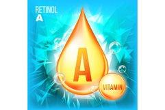 Vitamin A Retinol Vector. Vitamin Gold Oil Drop Icon. Product Image 1
