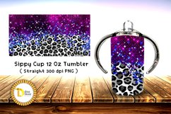 Sublimation Sippy Cup Tumbler leopard with purple foil Product Image 1
