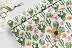 Watercolor succulents seamless pattern Cactus digital paper Product Image 4