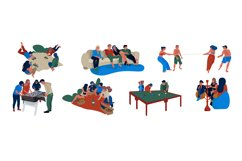 Friends scenes. People sitting eating spending time together Product Image 1