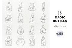 Handdrawn bottles clipart - doodle floral bottles Product Image 1