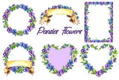 Watercolor pansy flower Product Image 3