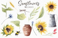 Watercolor Sunflowers Clipart, Autumn Flowers Product Image 3