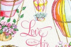Air Balloons Romantic Wedding Digital, Watercolor Valentine Product Image 2