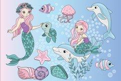MERMAIDS Sea Tropical Color Vector Illustration Set Product Image 5