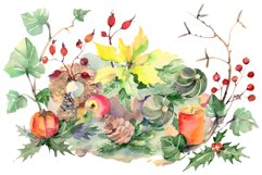 Christmas bouquet snowstorm Watercolor png Product Image 1