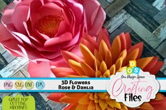 Rose & Dahlia 3D Paper Flowers SVG, DXF, EPS and PNG files Product Image 1