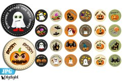 Cute Halloween Bottle cap images Printable circles Product Image 1
