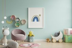 Abstract Blue Rainbow Printable, Nursery Boho Decor Product Image 2