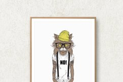 Hipster Wall Art, Funny Animal Prints, Hipster Animals Product Image 4