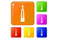 Christ statue icons set vector color Product Image 1