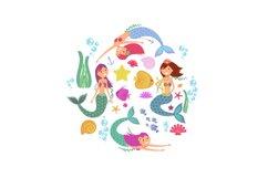 Cartoon swimming mermaids and sea underwater animals vector Product Image 1