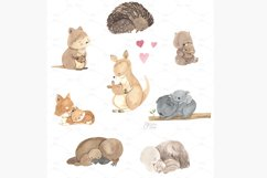 Australian animals clipart. Watercolor mother and baby. Product Image 2