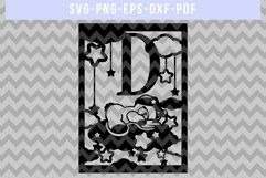 Nursery D SVG Cut File, Monogram Papercut, Paper Art DXF PDF Product Image 4