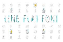Line Flat font + line flat icon Product Image 1