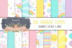 Sun Clouds Rainbow Spring Digital Paper Baby Shower Girl Product Image 1