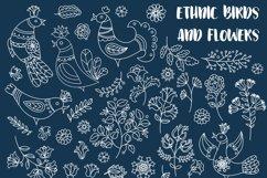 ETHNIC WINTER Folk Ornament Decor Fabric Print Doodle Product Image 2