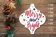Arabesque Tile Merry and bright SVG lettering design Product Image 1