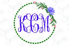 Floral Monogram Frame Cut File Set   SVG, EPS, DXF, PNG Product Image 1