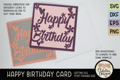 Floral Happy Birthday Card SVG - Birthday Card Cutting File Product Image 4