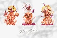3 watercolor Halloween pumpkin clipart. Halloween poster Product Image 1