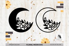 Floral Moon SVG Crescent Moon SVG Half Moon Paper Cut Boho Product Image 5