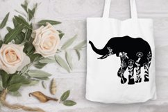 Floral Elephant SVG Cut Files. Floral Elephant Clipart. Product Image 6