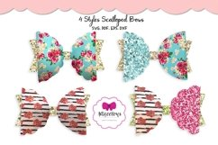 Scalloped Half Bow|Hair Bow SVG|Cricut Silhouette Bow Product Image 1