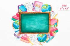 Back to school wreath Watercolor clipart School supplies Product Image 1