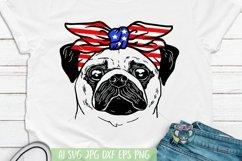 4th of July svg, Pug svg, Dog Face, Patriotic, Cricut File Product Image 1