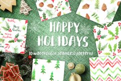Watercolor 10 Christmas Patterns Product Image 1