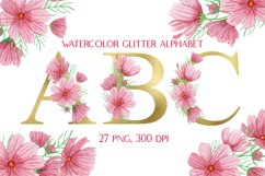Gold Floral Alphabet Pink Flowers Watercolor Clipart Product Image 1