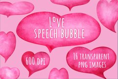 Love speech bubble. Set of pink hearts watercolor clip art Product Image 1