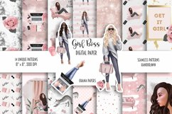 GIRL BOSS Digital Paper Pack - Fashion Illustration Patterns Product Image 1