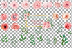 Blush watercolor floral wedding clip art, pink flowers leafs Product Image 2