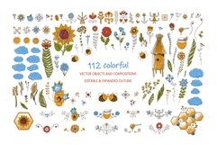 Honey Bee Vector Clipart Set Product Image 5
