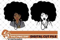 2x Black Woman Bundle svg, Nurse svg, Afro Hair svg, Surgeon Product Image 1