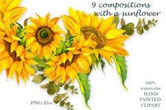 Sunflower Watercolor Clipart. Summer boho flower, bird Product Image 3