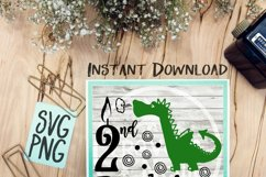 2nd Birthday Dragon SVG PNG Cricut Cameo Silhouette Brother Scan & Cut Crafters Cutting Files for Vinyl Cutting Sign Making Product Image 1