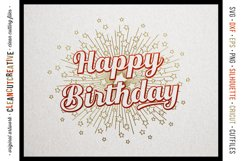 Foil Quill HAPPY BIRTHDAY single line sketch design SVG Product Image 3