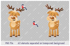 Merry Deer with Bullfinch. Cute Christmas cartoon character. Product Image 2