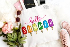 Hello Summer - Popsicles - Popsicle - Sign Shirt Tote SVG Product Image 2