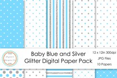 Baby Blue and Silver Glitter Digital Paper Pack Product Image 1