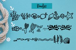 Madison's tail - A mermaid font plus nautical doodles Product Image 3