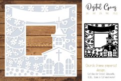 Church frame paper cut design SVG / DXF / EPS / PNG files Product Image 1