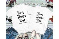 Matching Couples White T-Shirts Mockup, Two Shirts Mock Up Product Image 1